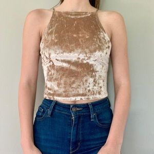 Hollister velvet high neck nude crop top